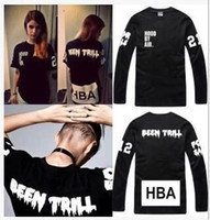 Wholesale Hood By Air HBA men women T shirt Sweatshirts X Been PYREX Robin Jeans Shirts Trill Kanye West Edison tee long sleeved T shirt Sweatpants