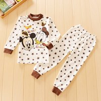 Cheap Mickey&Minnie Donald Duck Zebra children Pajamas outfits cartoon baby long-sleeved+pants 2pcs set Tracksuit Kids Clothing free shipping C937
