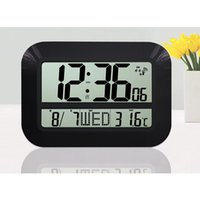 battery operating temperature - Large Display LCD LED Digital Wall Clock Battery Powered Operated Home Decor Modern Design Indoor Temperature Date Watch Alarm