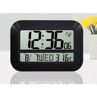 battery powered digital wall clock - Large Display LCD LED Digital Wall Clock Battery Powered Operated Home Decor Modern Design Indoor Temperature Date Watch Alarm