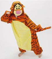 Wholesale New Style Adult Unisex Animal Kigurumi Lovely Tiger Pajamas Sleepsuit Halloween Christmas Party Cosplay Lovers Pajamas