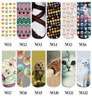 Wholesale DHL D pairs women emoji short socks Creative novelty animal Funny alien QQ expression smiling face socks J110