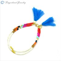 beaded braceletes - Bohemian Double Layers Beaded Woven Bracelets For Women Fashion Kids Tassel Braceletes Pulseras Mujer Bijoux Femme Fine Jewelry