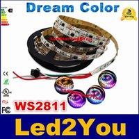 Bon Marché Couleur de rêve magique-DC12V WS2811 IC rêve Color Magic RGB 5050 LED Strip 30LED / m 60LED / m IP20 IP67 5m / lot