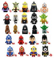 Wholesale 500 Different Fashion Design Cartoon Pendrives Real GB GB USB Flash Memory Stick Drive Star War Super Hero Minions Cheap Promotional Gift