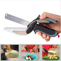 Wholesale Clever Cutter in Food Chopper Cutter Slicers Kitchen Knife Cutting Board Scissors Stainless Steel Kitchen Gadgets Meat Vegetable tool