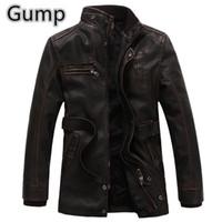 Wholesale Fall Winter man PU Jacket Vintage England style Windbreak long man Faux Leather masculina outdoor coat keep warm overcoat M XXXL