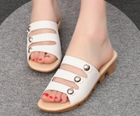 Wholesale Fashion new design women rivet middle anti skidding heels small wedges mother shoes slippers