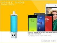 Wholesale Mobile phone usb flash drive flat twin plug OTG pen drive g g g gb metal usb flash pendrive u disk usb stick