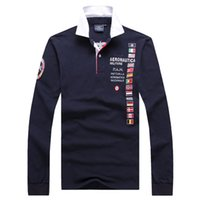 Wholesale Air Force One Polo Shirts Aeronautica Militare Army Men s Long Sleeve T Shirt Top Quality Fashion Patchwork Men Tees Polos Hiphop Horse