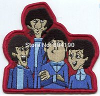 beatles groups - 4 quot BEATLES cartoon group pic let it be PATCH Music Band Embroidered IRON ON Applique Badge
