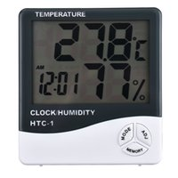 Wholesale Free express HTC High accuracy LCD Digital Thermometer Hygrometer Electronic Temperature Humidity Meter Clock Weather Station Indoor