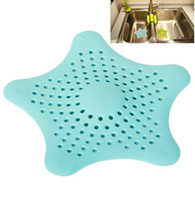 Wholesale Star Shape Hair Catcher Rubber Sink Strainer Shower Drain Cover Kitchen Bathroom cubierta de drenaje drain de couverture PG