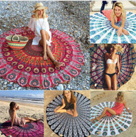 Wholesale 20Types CM Round Beach Towel Bohemian Style Blanket Shawls Lady Large Scarf Carpets Colorful Printed Yoga Mat
