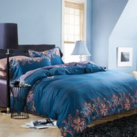Wholesale Navy Blue Floral Cotton Bedding Sets Royal Bedlinen S Flat Full Queen King Size No Filler