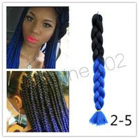 Wholesale Hot Two Tone Expression Ombre Braiding Hair Twists High Temperature Fiber Thick Synthetic Jumbo Ultra Braiding Hair More Colors