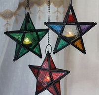 Wholesale The Moroccan color hang candlestick candles five pointed star colorful candlestick for light for house shop bar decoration GD