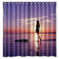bath shower curtain beach - Girl With Beach Sunset Design Shower Curtain Size x cm Custom Waterproof Polyester Fabric Bath Shower Curtains