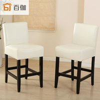 american leather chair - American minimalist retro leather coffee bar stool chair high back home Soft Pack Bar stools