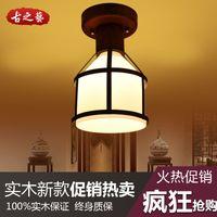 Wholesale European Mediterranean iron wood single head lamps Vintage American country aisle lights simple corridor balcony lamp