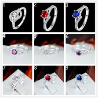 Wholesale Mix order pieces diffrent style fashion gemstone Rings silver finger ring Best gift women s silver gemstone Rings GTR D B