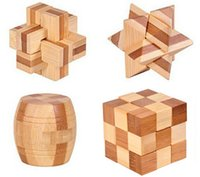 bamboo interlock - 4PCS Set D Bamboo Wood Interlocking Burr Puzzle IQ Brain Teaser Traditional Educational Game Toy for Adults Children Kids
