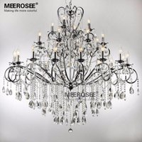 Wholesale Large Art Work - Large 28 Arms Wrought Iron Chandelier Crystal Light Fixture Chrome Lustre De Sala Crystal Hanging Lamp Lighting MD051 L28