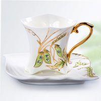 al por mayor cajas de regalo juego de té-Porcelana de Bellas Artes de Cerámica Diamond Pea Coffee Set de Té con Salsa + Gift Box