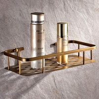 Brass antique shower hardware - Home Organizer Kitchen Bath Shower Shelf Storage Basket Holder Wall Mounted Brass Antique Finishes Bathroom Hardware