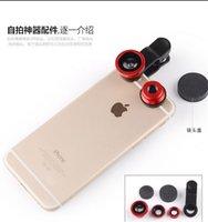 Wholesale 3 in Universal Clip Fish Eye lens PC arylic metal Fisheye Lens selfie lens For iPhone Samsung htc lg