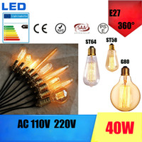 Wholesale Vintage Edison Bulbs E27 Incandescent Bulbs AC110V V ST64 G80 T45 Filament Bulb Retro Edison Light Pendant Lamp