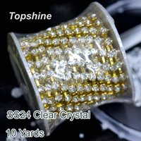 Wholesale Best Quality Yard SS24 Crystal Glass Rhinestones Cup Chain For Wedding Dress