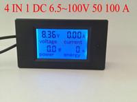 venda por atacado digital ammeter and voltmeter-Atacado-4 em 1 amperímetro voltímetro digital de tensão ampere Power Energy metro DC 6,5 ~ 100V com display LCD de luz de fundo azul 50A 100A