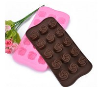 Cheap Rose flower, Cake Mold Flexible Silicone Mold For chocolate Handmade Soap Candle Candy bakeware baking moulds kitchen tools ice molds