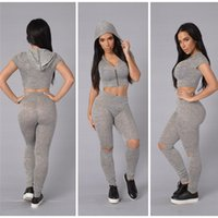 Wholesale Sexy Women S Sports Jerseys - Fashionable Summer Sexy Sport Women 2 pieces Casual Sport Short Sleeve Tracksuit Pullover Solid 2 Sets Pants