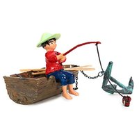 Wholesale Boy In Boat Action Air Aquarium Ornament Aquarium Landscaping