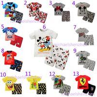 Cheap 13 Design Boy girl Mickey Minne Batman Hello kitty Pajamas children DHL cartoon INS Short sleeve + shorts 2pcs Suits baby clothes B001