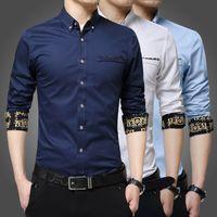 Wholesale 100 cotton men s long sleeved shirt Slim Korean business casual shirts M XL