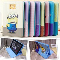anime ipad case - 2014 New Arrive Cute Anime Despicable Me Minions Smart PU Leather Stand Case Cover Skin Minions For Apple iPad234 Tablet Case