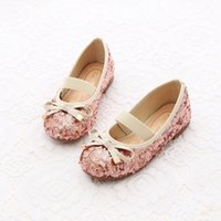 Wholesale Kids Shoes Girls Shoes Bow Princess Shoes New Spring Fashion Bling Shiny Sequins Dress Shoes MC