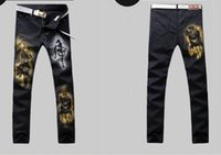 animal rock painting - Hand painted painting mighty Tigers men s jeans down brand rock revival jeans classic distressed jeans men hot sale jeans slim for men