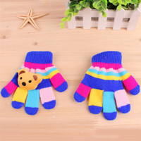 Wholesale winter gloves for kids winter gloves mittens children Mitten Girl Boy Kid Stretchy Knitted glove multicolors cotton knitted gloves