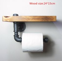 Wholesale 1PC Industrial Vintage WC Bathroom Kitchen Toilet Paper Holder with Shelf Bathroom Banheiro Towel Rack Roll Paper Holder J011