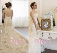 Wholesale 2016 Vintage Mermaid Full Lace Wedding Dresses Sweetheart Strapless Backless Chapel Train Appliques Ribbon Ruffles Cheap Bridal Gowns