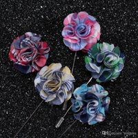 Wholesale New fashion men brooch Flower lapel pin suit Boutonniere Fabric yarn pin colors button flower broochers exquisite weeding