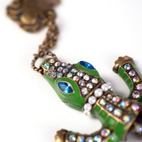 alligator necklace - High Quality Brand Long Chain Crocodile Necklace Flower Green Alligator Pendant Necklace Collares For Women s Animal Jewelry a06205