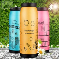 Wholesale ml Tatu cup stainless steel thermal insulated cup Hand drawn comic cup water bottle Thermos bottle Vacuum Flasks colors