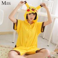 Wholesale Lovely Pikachu Short Sleeve Cosplay Costumes Summer Autumn Cotton Pajama Onesie Funny Animal Jumpsuit Sleepwear