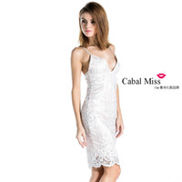 Wholesale Cabal Miss Sexy v neck halter sleeveless lace stitching dress FT3571