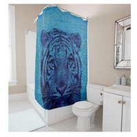Wholesale Customs W x H Inch Shower Curtain Tiger Stare Waterproof Polyester Fabric Shower Curtain